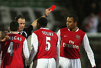 Photo: Paul Thomas.<br />Blackburn Rovers v Arsenal. The Barclays Premiership. 13/01/2007.<br /><br />Referee Rob Styles (Black) sends off Gilberto Silva (R) for foul play on Blackburns Robbie Savage.