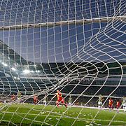 Galatasaray's Burak Yilmaz (C) scores during their Turkish superleague soccer derby match Fenerbahce between Galatasaray at the Sukru Saracaoglu stadium in Istanbul Turkey on Sunday 12 May 2013. Photo by Aykut AKICI/TURKPIX