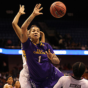 Shae Nelson, East Carolina, rebounds during the Temple Vs East Carolina Quarterfinal Basketball game during the American Women's College Basketball Championships 2015 at Mohegan Sun Arena, Uncasville, Connecticut, USA. 7th March 2015. Photo Tim Clayton