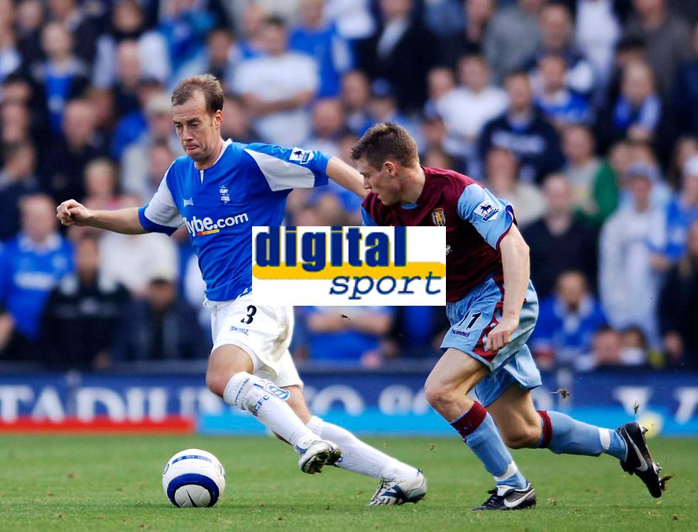 Photo: Glyn Thomas.<br />Birmingham City v Aston Villa. The Barclays Premiership.<br />16/10/2005.<br /> Birmingham's Jamie Clapham (L) and Villa's James Milner.