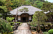 LIVING ZEN - HOSHINJI MONASTERY, OBAMA-JAPAN..Hoshinji monastery of Soto Zen Buddhism as seen from the front garden.