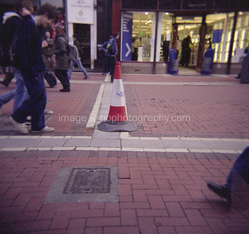Traffic cone on Grafton street in Dublin Ireland,