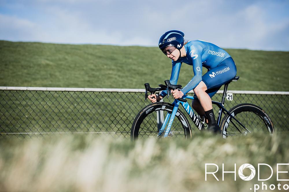 Barbara Guarischi (ITA/Movistar)<br /> <br /> Healthy Ageing Tour (NED) 2021<br /> UCI Women Elite 2.1<br /> Stage 2 : Individual Time Trial (ITT) – Lauwersoog – Het Hoogeland 14.4km<br /> <br /> ©RhodePhoto