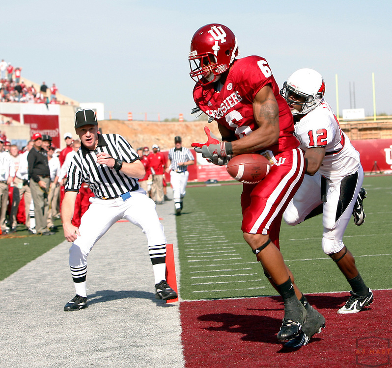 03 November 2007: Indiana wide receiver James Bailey (6) as the Indiana Hoosiers played the Ball State Cardinals  in a college football game in Bloomington, Ind. Indiana won 38-20.