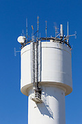 Cellular and mobile radio communications antennas on water tower in Chinchilla, Queensland, Australia <br />