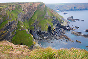Hells´s Mouth cliffs and caves at Gwithian, Cornwall, England