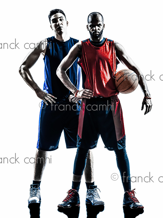 two men basketball players holding ball in silhouette isolated white background