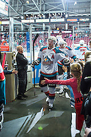 KELOWNA, CANADA - JANUARY 23: Colten Martin #8 of Kelowna Rockets exits the ice against the Everett Silvertips on January 23, 2015 at Prospera Place in Kelowna, British Columbia, Canada.  (Photo by Marissa Baecker/Shoot the Breeze)  *** Local Caption *** Colten Martin;