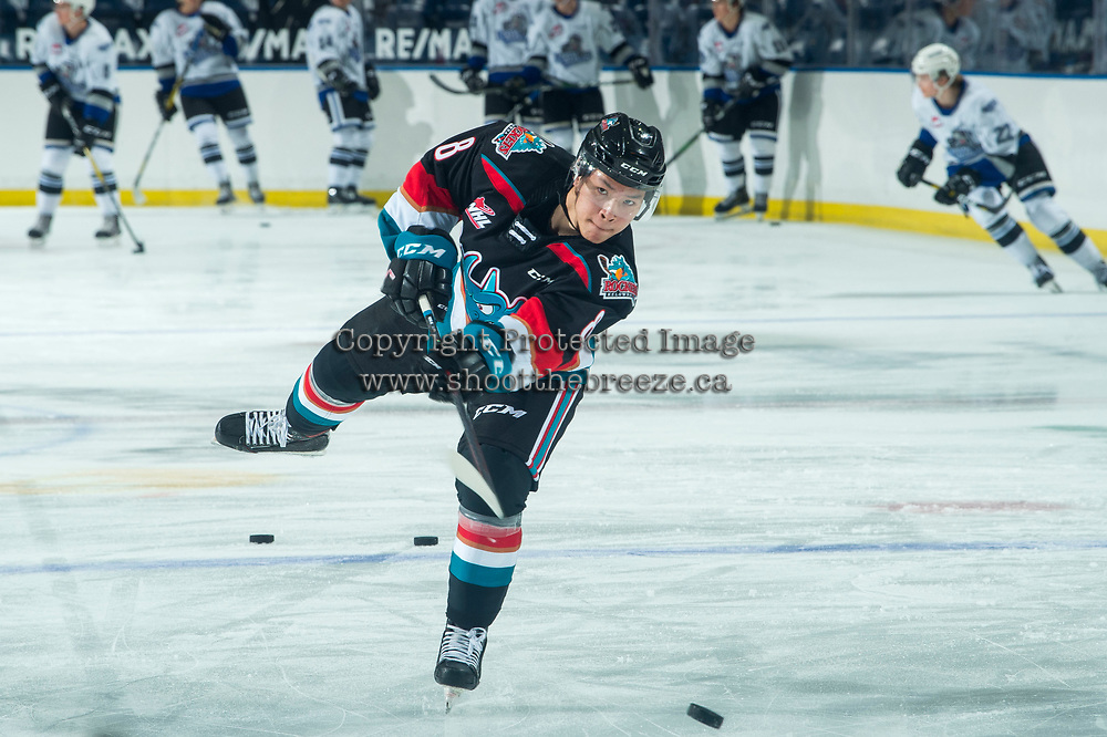KELOWNA, BC - MARCH 26: Forward Trevor Wong #8 of the Kelowna Rockets warms up with a shot on net against the Victoria Royalsat Prospera Place on March 26, 2021 in Kelowna, Canada. (Photo by Marissa Baecker/Shoot the Breeze)
