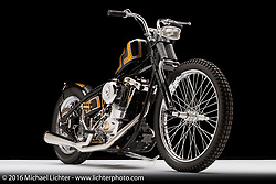 """""""Braas Monkey"""", a custom gold and black shovelhead built for tattoo artist Josh Arment by Kevin """"Teach"""" Baas and Ken Mlsna of Minneapolis, MN. Photographed by Michael Lichter in Sturgis, SD on July 31, 2016. ©2016 Michael Lichter."""