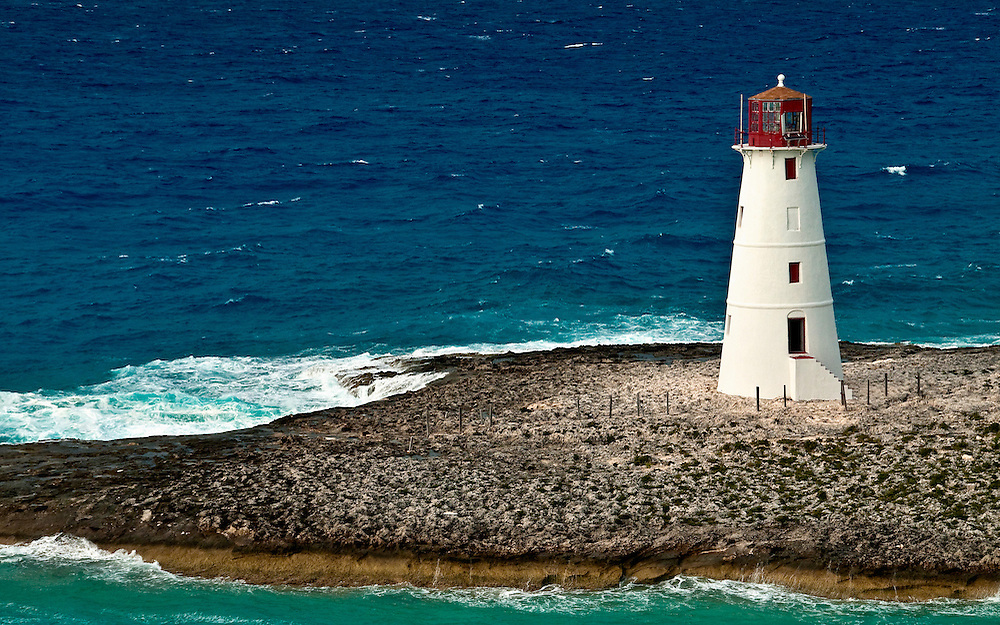 View of lighthouse in Nassau, Bahamas in the Caribbean sea.