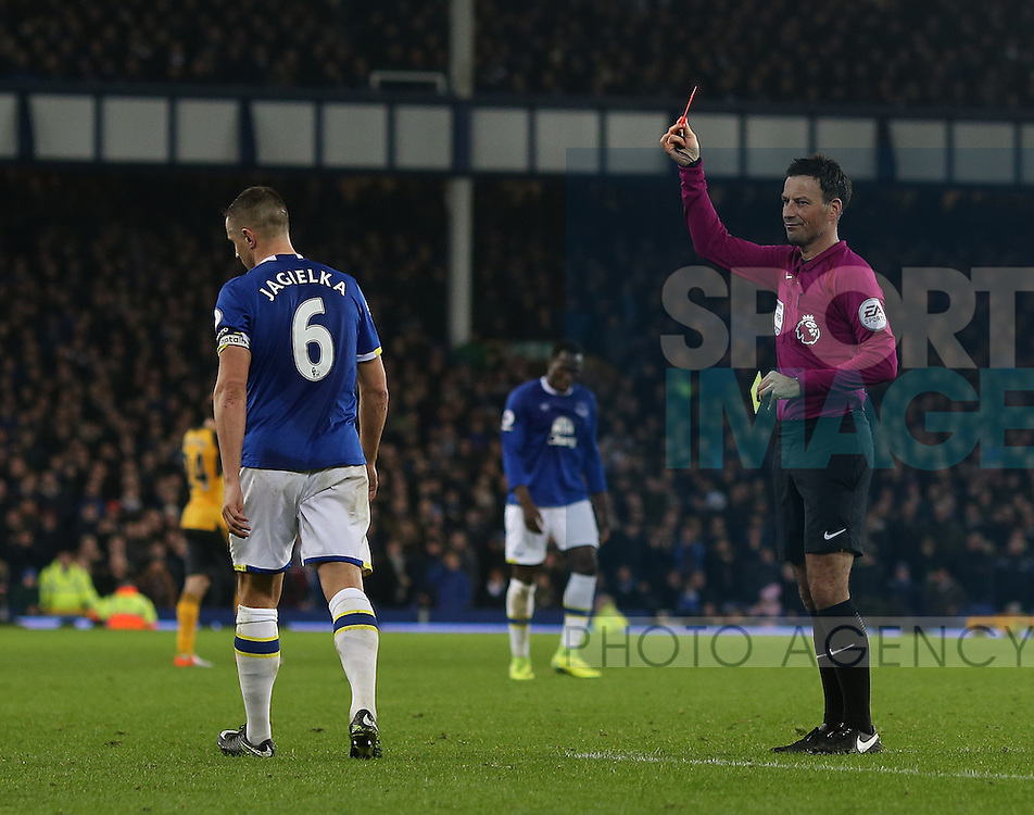 Phil Jagielka of Everton is sent off during the English Premier League match at Goodison Park Stadium, Liverpool. Picture date: December 13th, 2016. Pic Simon Bellis/Sportimage