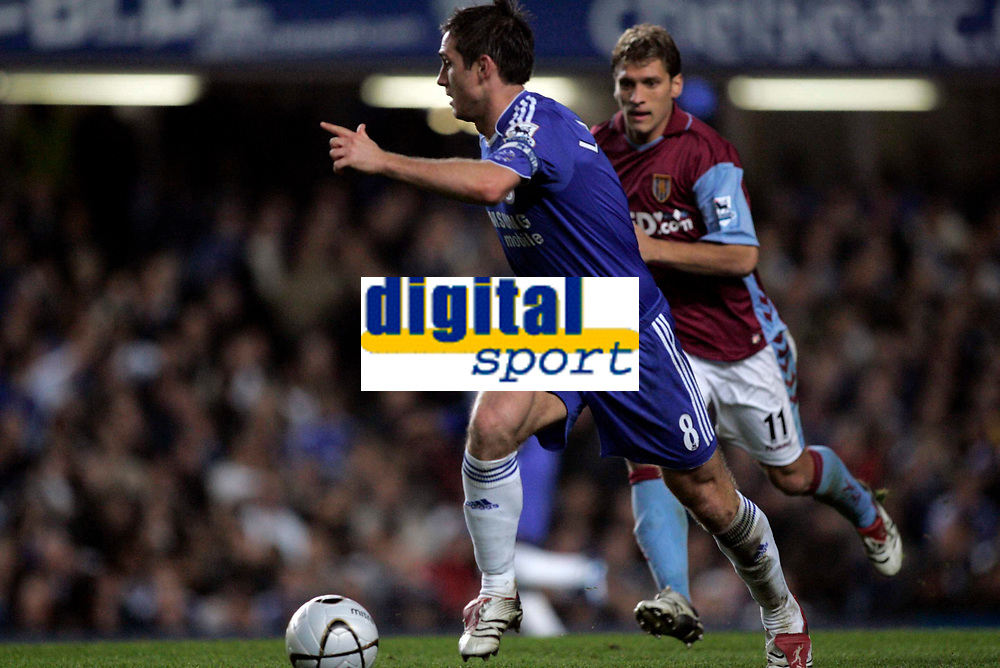 Photo: Marc Atkins.<br /> Chelsea v Aston Villa. Carling Cup. 08/11/2006.<br /> Frank Lampard in action with Stilian Petrov.