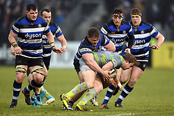 Nick Auterac of Bath Rugby puts in a tackle - Mandatory byline: Patrick Khachfe/JMP - 07966 386802 - 27/01/2018 - RUGBY UNION - The Recreation Ground - Bath, England - Bath Rugby v Newcastle Falcons - Anglo-Welsh Cup