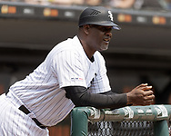 CHICAGO - JUNE 01:  First base coach Daryl Boston #8 of the Chicago White Sox looks on against the Cleveland Indians on June 1, 2019 at Guaranteed Rate Field in Chicago, Illinois.  (Photo by Ron Vesely)  Subject:  Daryl Boston