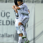 Besiktas's Simao SABROSA (R) celebrate his goal with team mate during their Turkey Cup semi final soccer firsth match Besiktas between Gaziantepspor at the Inonu stadium in Istanbul Turkey on Wednesday 06 April 2011. Photo by TURKPIX
