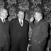 11/01/1962<br /> 01/11/1962<br /> 11 January 1962<br /> Irish Sugar Company film premier at the Shelbourne Hotel, Dublin. The premier of the Irish Sugar Co. film of the story of beet sugar in the Shelbourne Ballroom. Picture shows Mr Patrick Smith (centre), Minister of Agriculture, charting to Mr J.E. MacEllen (left) Chairman of Irish Sugar Co. and Major General M.J. Costello, General Manager of Irish Sugar Company at the premier.