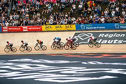 Small peloton on the velodrome during the 2018 Paris-Roubaix race, Velodrome Roubaix, France, 8 April 2018, Photo by Thomas van Bracht / PelotonPhotos.com   All photos usage must carry mandatory copyright credit (Peloton Photos   Thomas van Bracht)