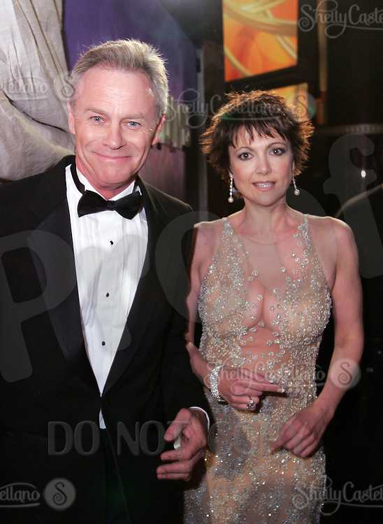 28 April 2006: Emma Samms and Tristan Rogers of General Hospital in the exclusive behind the scenes photos of celebrity television stars in the STAR greenroom at the 33rd Annual Daytime Emmy Awards at the Kodak Theatre at Hollywood and Highland, CA. Contact photographer for usage availability.