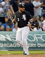 CHICAGO - JULY 26:  Melky Cabrera #53 of the Chicago White Sox smiles at Jon Jay #30 of the Chicago Cubs after making a running catch on a ball hit by Jay in the second inning against the Chicago Cubs on July 26, 2017 at Guaranteed Rate Field in Chicago, Illinois.  The Cubs defeated the White Sox 08-3.  (Photo by Ron Vesely) Subject:   Melky Cabrera; Jon Jay