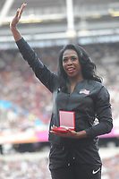 Athletics - 2017 IAAF London World Athletics Championships - Day One<br /> <br /> Medal Ceremonies for rehoming of medals from positive drug testing<br /> <br /> Francena McCorory (USA)  in tears as she receives her Bronze for the Womens 400m, at the London Stadiuim.<br /> <br /> COLORSPORT/ANDREW COWIE