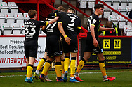 CELEBRATION! For Barrow as they score against Stevenage during the EFL Sky Bet League 2 match between Stevenage and Barrow at the Lamex Stadium, Stevenage, England on 27 March 2021.