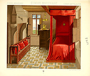 Ancient European fashion and lifestyle, interior of a rich home Middle Ages from Geschichte des kostums in chronologischer entwicklung (History of the costume in chronological development) by Racinet, A. (Auguste), 1825-1893. and Rosenberg, Adolf, 1850-1906, Volume 3 printed in Berlin in 1888