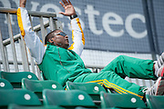 South African Assistant Coach Fabian Gregory watches from the main stand during their game against Italy in the Investec Hockey World League Semi Final 2013, the Quintin Hogg Memorial Sports Ground, University of Westminster, London, UK on 27 June 2013. Photo: Simon Parker