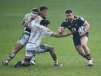 Rugby Union - 2020 / 2021 Gallagher Premiership - Round Eight - Wasps vs Northampton Saints - Ricoh Stadium<br /> <br /> Wasps' Ben Harris evades the tackle of Northampton Saints' Lewis Ludlam.<br /> <br /> COLORSPORT/ASHLEY WESTERN