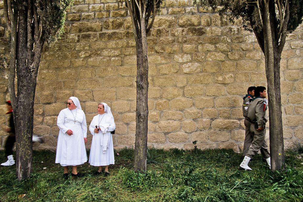 Nuns outside of a Christian church in Jerusalem.
