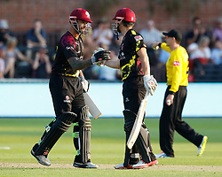 Somerset's James Hildreth congratulates Peter Trego on his half century <br /> <br /> Photographer Simon King/Replay Images<br /> <br /> Vitality Blast T20 - Round 1 - Somerset v Gloucestershire - Friday 6th July 2018 - Cooper Associates County Ground - Taunton<br /> <br /> World Copyright © Replay Images . All rights reserved. info@replayimages.co.uk - http://replayimages.co.uk