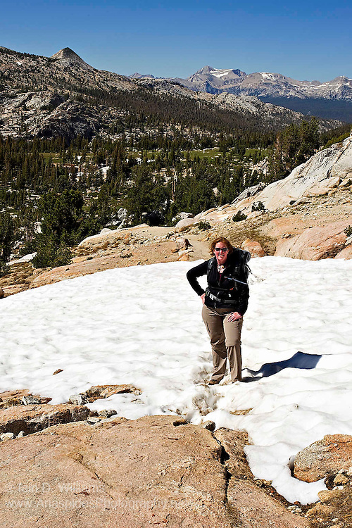 Snow drifts and small ice fields are common in the High Sierras and often cover sections of hiking trails.  Care must be taken when crossing such drifts as they can be quite deep in places and the ice can be slippery