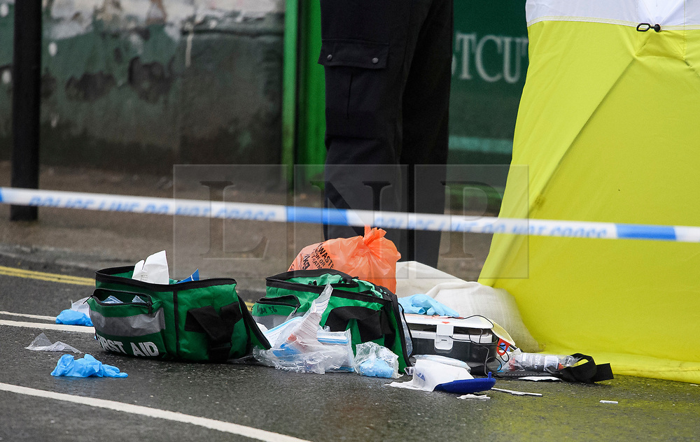 © Licensed to London News Pictures. 10/02/2019. London, UK. Medical equipment remains on the floor, at the scene on Lordship Lane in East Dulwich, south London where a man, believed to be in his 30's, was stabbed to death in the early hours of this morning. Photo credit: Ben Cawthra/LNP