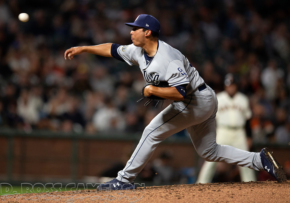 San Diego Padres pitcher Andres Munoz (52) delivers against the San Francisco Giants during the ninth inning of a baseball game, Thursday, Aug. 29, 2019, in San Francisco. Munoz picked up his first career save as the Padres won 5-3. (AP Photo/D. Ross Cameron)