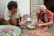 Mar. 14, 2009 -- LUANG PRABANG, LAOS: Women peel garlic in a market in Luang Prabang, Laos.   Photo by Jack Kurtz / ZUMA Press