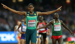 South Africa's Caster Semenya celebrates winning the Women's 800m Final during day ten of the 2017 IAAF World Championships at the London Stadium.