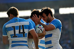 Nicolas Sanchez of Argentina is congratulated on his try in the second half - Mandatory byline: Patrick Khachfe/JMP - 07966 386802 - 04/10/2015 - RUGBY UNION - Leicester City Stadium - Leicester, England - Argentina v Tonga - Rugby World Cup 2015 Pool C.