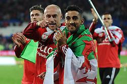 David Cotterill celebrates qualifying for EURO 2016 - Mandatory byline: Dougie Allward/JMP - 07966 386802 - 13/10/2015 - FOOTBALL - Cardiff City Stadium - Cardiff, Wales - Wales v Andorra - European Qualifier 2016 - Group B