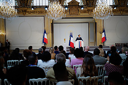 French president Emmanuel Macron delivers a speech during a ceremony to award French 2018 football World Cup winners with the Legion of Honour at the Elysee Palace in Paris, on June 4, 2019. Photo by Hamilton/pool/ABACAPRESS.COM