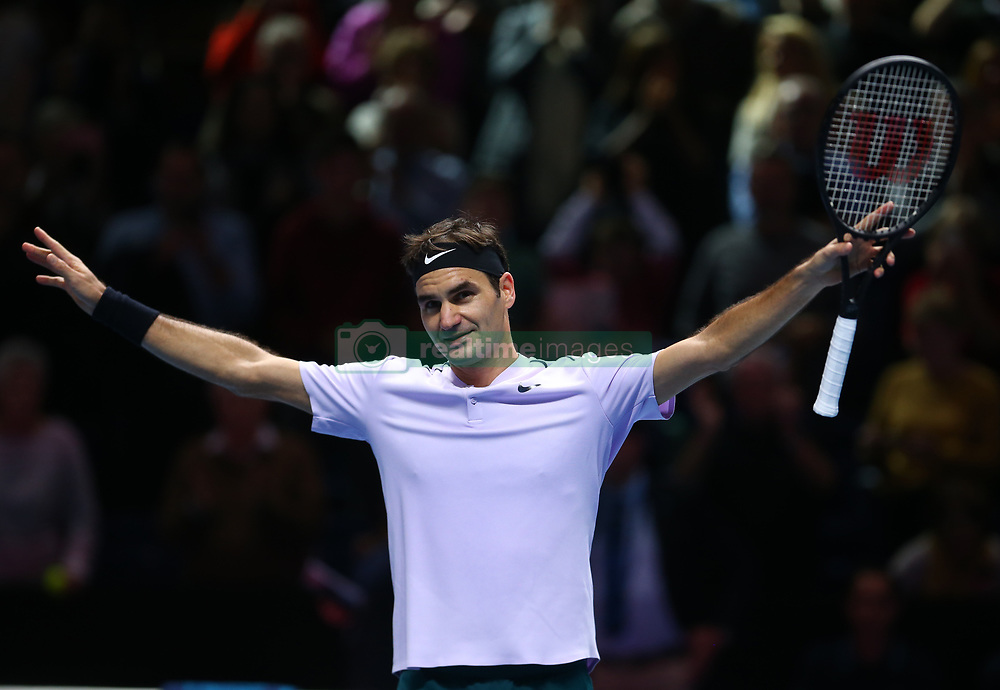 November 16, 2017 - London, England, United Kingdom - Roger Federer of Switzerland celebrates after beating Marin Cilic of Croatia 2 sets 1.during Day five of the Nitto ATP World Tour  Finals played at The O2 Arena, London on November 16 2017  (Credit Image: © Kieran Galvin/NurPhoto via ZUMA Press)