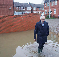© Licensed to London News Pictures. 9/11/2019. Doncaster, UK. A  Labour leader Jeremy Corbyn, visits areas  affected by flooding in Dufton Close Conisborough .Within 24 hours , floods have affected many parts of Northern England , with damage corresponding to a month of heavy rainfall.Photo credit: Ioannis Alexopoulos /LNP
