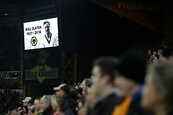 A tribute for former Wolves captain Bill Slater is shown during the Emirates FA Cup, third round match at Molineux, Wolverhampton.