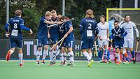 AMSTELVEEN - Pinoke, Dennis Warmerdam (Pinoke), heeft gescoord    tijdens   hoofdklasse hockeywedstrijd mannen, Pinoke-Kampong (2-5) . COPYRIGHT KOEN SUYK
