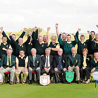 16 September 2011: Woodstock Golf Club, winners of the Pierce Purcell Shield at the Chartis All-Ireland Cups and Shields 2011 at Castlerock Golf Club, back row, left to right, Brian Mulcahy, James McMahon, Shane Fitzgerald, Ollie McNamara, Mike Kelly, Michael OíBrien, Robert Dormer, Liam McInerney, Martin Dormer, Michael Talty, Frank Doherty, Tom Hehir, Declan Coote, Tom Dormer. Front row, left to right, Rory Callinan, Jimmie Kelly, club president, Eugene Quinn, club captain, Eoin OíLaughlin, team captain, Eugene Fayne, President Golfing Union of Ireland, Simon Russell, Chartis Insurance Ireland, Vincent McGuigan, captain, Castlerock Golf Club, Joan Barrett, lady captain and Jason Considine. Chartis Cups and Shields Finals 2011, Castlerock Golf Club, Co. Derry. Picture credit: Oliver McVeigh/ SPORTSFILE *** NO REPRODUCTION FEE ***