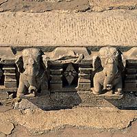 Asia, India, Khajuraho. Detail of stone carving at Khajuraho.