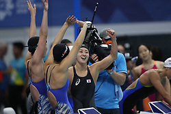 JAKARTA, Aug. 19, 2018  Team Japan celebrate after Women's 4X100m Freestyle Relay Final in the 18th Asian Games in Jakarta, Indonesia, Aug. 19, 2018. (Credit Image: © Fei Maohua/Xinhua via ZUMA Wire)