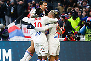 Mariano Diaz of Lyon and Bertrand Traore of Lyon and Memphis Depay of Lyon during the French Championship Ligue 1 football match between Olympique Lyonnais and AS Saint-Etienne on february 25, 2018 at Groupama stadium in Décines-Charpieu near Lyon, France - Photo Romain Biard / Isports / ProSportsImages / DPPI