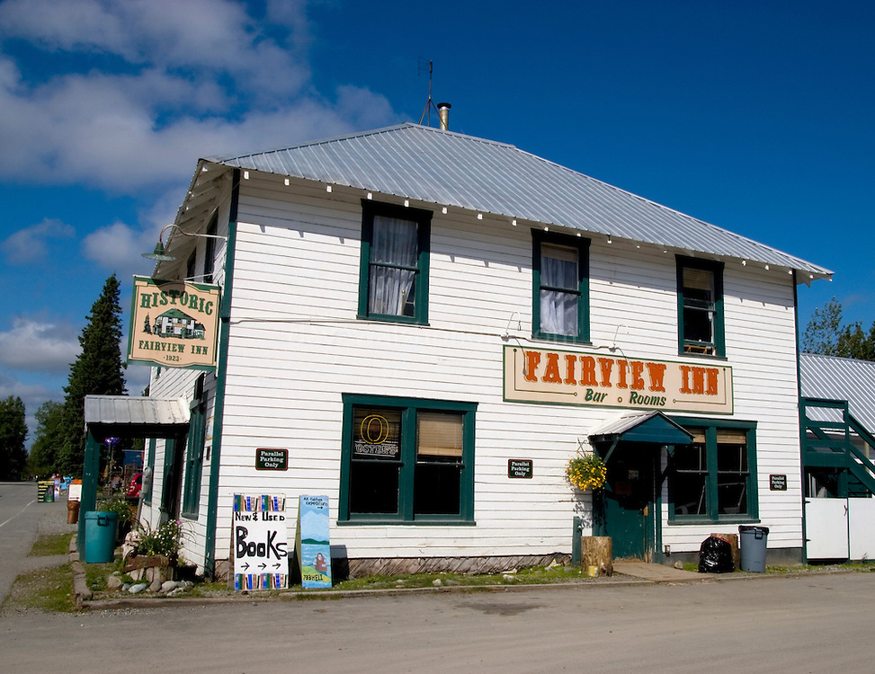 "The Historic Fairview Inn, Talkeetna, Alaska. ""Serving trappers, miners and climbers"", established in 1923. US President Warren G. Harding was allegedly poisoned here in 192 - and later died."