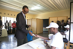 KIGALI, Aug. 4, 2017  Rwandan presidential candidate and incumbent President Paul Kagame participates in voting in Kigali, capital city of Rwanda, on Aug. 4, 2017. Rwandan presidential elections kicked off Friday. Analysts expect incumbent President Paul Kagame, who is seeking his third term, will gain another landslide victory.  lrz) (Credit Image: © Gabriel Dusabe/Xinhua via ZUMA Wire)