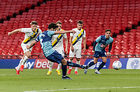 Wycombe Wanderers' Joe Jacobson  scoring his side's second goal from the penalty spot <br /> <br /> Photographer Andrew Kearns/CameraSport<br /> <br /> Sky Bet League One Play Off Final - Oxford United v Wycombe Wanderers - Monday July 13th 2020 - Wembley Stadium - London<br /> <br /> World Copyright © 2020 CameraSport. All rights reserved. 43 Linden Ave. Countesthorpe. Leicester. England. LE8 5PG - Tel: +44 (0) 116 277 4147 - admin@camerasport.com - www.camerasport.com